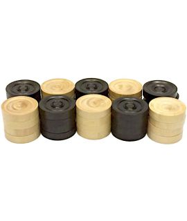 Checkers 32 mm 2 x 20 pieces palmwood - tournament style in wooden box- size 5