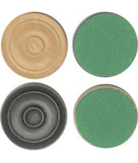 Handgemaakte damschijven 37 mm 2 x 20 stuks met vilt - gepolijst en satijn zwart chikri (#6)