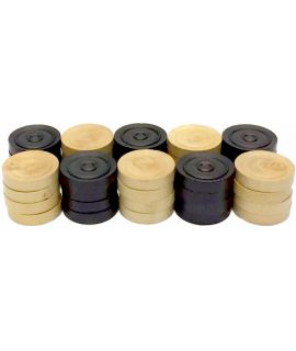 Checkers 32 mm 2 x 20 pieces ebonized boxwood - tournament style in wooden box- size 5