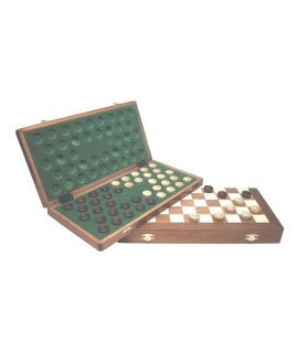 Draughts travel set 39 x 19 cm inlaid