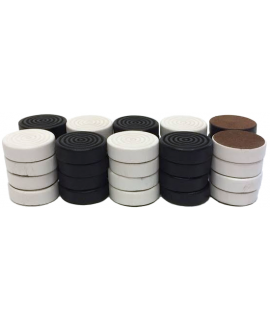 Checkers painted black and white 28 mm 2 x 20 pieces - size 3 or 4