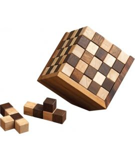 Chekered cube puzzle - 25 pieces - 11 cm