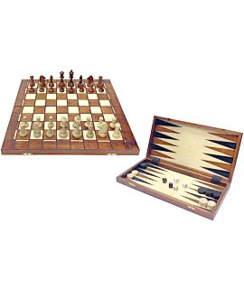 Chess, checkers and Backgammon set 41 x 21 cm with traditional burn technique