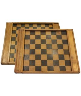 Antique wooden chess and checkers board 44 x 35 cm - size 3