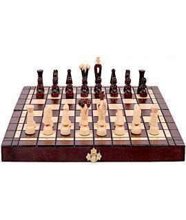 Middelgrote parel schaakset en damset 35 cm met traditionele brandtechniek