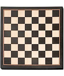 Schaakbord bedrukt zwart en naturel met sierrand 55 cm - velden 55 mm (# 6)