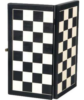 Schaakdoos zwart met schaakbord - voor schaakstukken tot en met maat 2