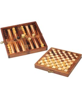 Foldable magnetic draughts and backgammon set 18 x 9 cm