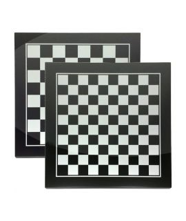 Chess and checkers board silver and black 40 cm - squares 40 mm and 32 mm - size 3