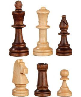 Staunton wedstrijd schaakstukken verzwaard - naturel en bruin gebeitst - koningshoogte 78 mm - maat 3