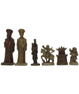 Vintage pewter chinese chess pieces - 18 cm king height