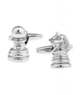 Silver colored chess cufflinks in jewelry box