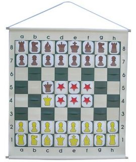 Demonstration chess board rollable with pouches and staunton style chess pieces