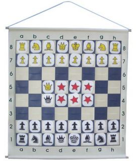 Demonstration chess board rollable with pouches and symbol style chess pieces