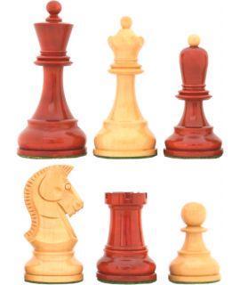 Bobby Fischer schaakstukken verzwaard naturel en rood - koningshoogte 92 mm (#6)