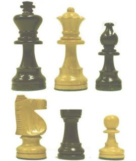 Ebony and boxwood Staunton chess pieces - king height 84 mm - size 4 - vintage