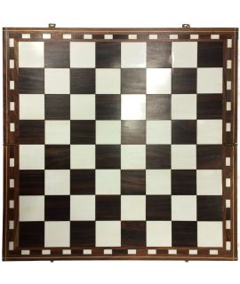 Antique chess board ebony - ivory - squares 56 mm - 51 cm - size 6