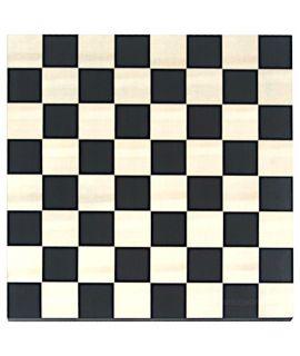 Schaakbord 48 cm zwart - naturel zonder rand - velden 60 mm - maat 7