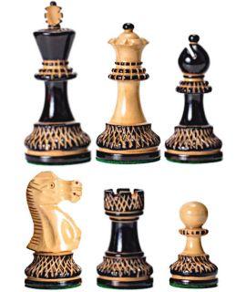 Elegance schaakstukken gepyrograveerd verzwaard - koningshoogte 95 mm (#6)