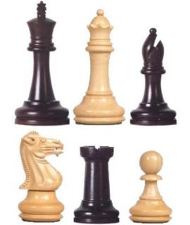 Executive Staunton 7 chess pieces - boxwood and stained black - weighted