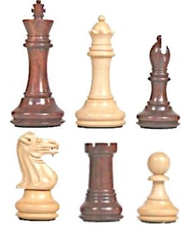 Executive Staunton 7 chess pieces - bud rosewood - weighted