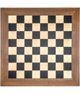 Luxe schaakbord zwart en esdoorn 55 cm met walnoot rand - veldmaat 55 mm - maat 6