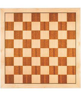 Luxe schaakbord esdoorn en mahonie 54 cm - veldmaat 60 mm - maat 7