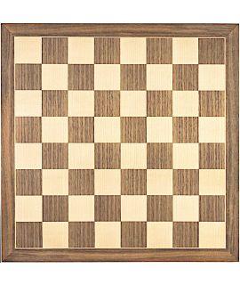 Luxe schaakbord walnoot en esdoorn 54 cm - veldmaat 60 mm - maat 7
