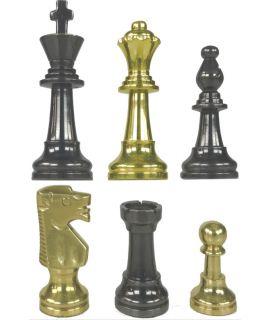 Moderne handgedraaide messing Staunton schaakstukken (# 5)