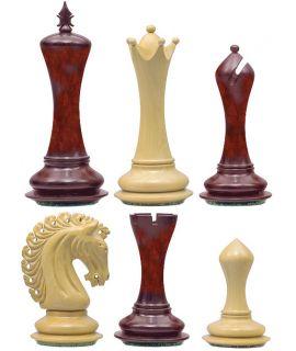 Fusion Staunton schaakstukken - chikri & padoek verzwaard - koningshoogte 108 mm (#8)