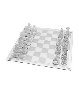 Glass chess set 20 cm - frosted and translucent pieces