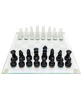 Glass chess set 25 cm - black and translucent pieces