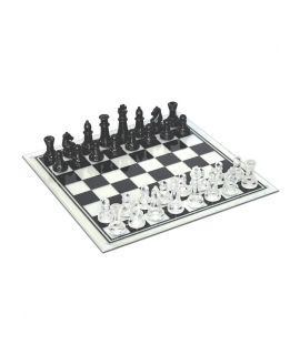 Glass chess set 35 cm - black and translucent pieces