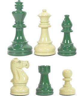 Hoogglans groen en crème schaakstukken verzwaard - koningshoogte 95 mm (#6)
