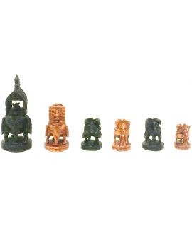 Antique wooden Rajasthan chess pieces - India
