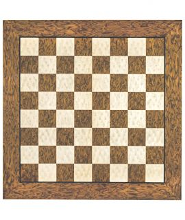 Brown burl and erable luxury high gloss chess board 60 cm - fieldsize 60 mm - size 7