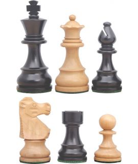Chess pieces Staunton 6 tournament premium weighted stained black - french knight