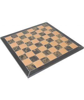 Kostbaar leren schaakbord 42 cm - bruin en beige - veldgrootte 45 mm (# 4)