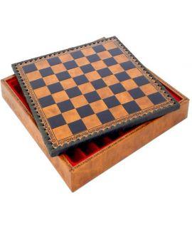 Backgammon, checkers en schaakbord van kunstleer met opbergvak 48 cm - veldmaat 52 mm (# 5)