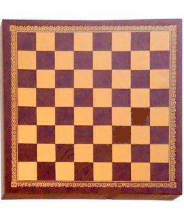 Kunstleer goud en bruin schaakbord 40cm - veldgrootte 45 mm (# 4)