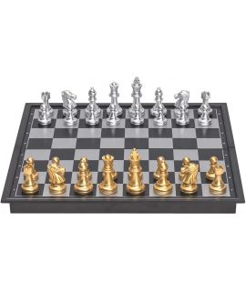 Magnetic travel chess set with gold and silver pieces 32 x 32 cm