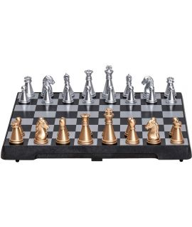 Magnetic travel chess set with gold and silver pieces 16 x 8 cm