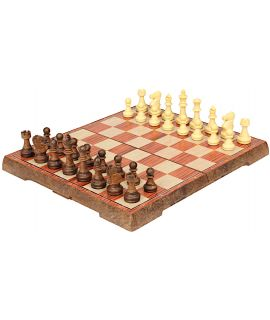 Magnetic travel chess set with wood imitation chess pieces 24.5 x 24.5 cm