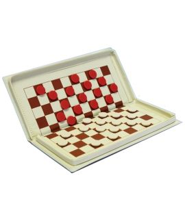 Magnetic draughts travel set 21 x 10 cm