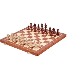 Chess magnetic travel set 27 x 13,5 cm - mahogany inlaid fields