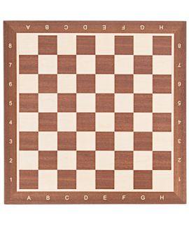 Schaakbord 54 cm mahonie - esdoorn met notatie - velden 58 mm - maat 6