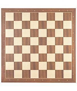 Luxe schaakbord mahonie en esdoorn 54 cm met notatie - veldmaat 60 mm - maat 7