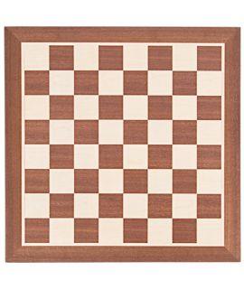 Schaakbord 44 cm mahonie - esdoorn zonder notatie - velden 45 mm - maat 4