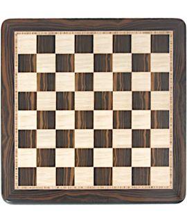 Macassar ebbenhout - vogeloog esdoorn schaakbord 45 cm - veldmaat 45 mm - maat 4