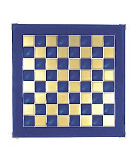 Schaakbord messing en blauw emaille 36 cm - maat 1